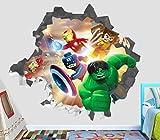 Lego Super Hero Hulk Captain America Iron Man Wall Decal Smashed 3D Sticker Vinyl Decor Mural Kids - Broken Wall - 3D Designs - OP520 (Large (Wide 40'' x 36'' Height))
