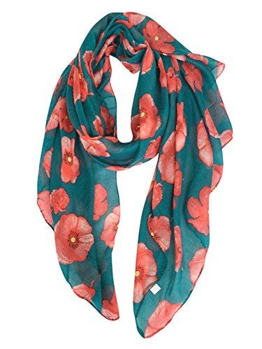 Pattern Scarf Floral - GERINLY - Lightweight Poppy Flower Print Oblong Scarf (Teal)