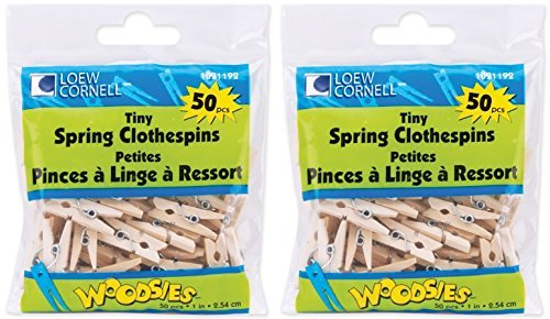 Loew-Cornell Woodsies Tiny Spring Clothespins, 1-Inch, Natural, 50-Pack (2 Pack)