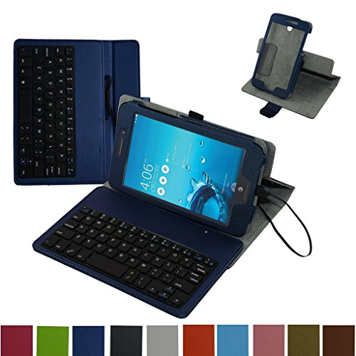 "Price comparison product image MeMO Pad 7 LTE ME375CL Micro USB Keyboard Case, Mama Mouth Rotary Stand PU Leather Cover With Removable Micro USB Keyboard for 7"" ASUS MeMO Pad 7 LTE ME375CL Android Tablet, Dark Blue"