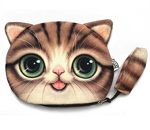 Big Eyed Coffee-Color Cat Wallet with a Tail | Lovely Kitty Head Purse with a Tail | Zipper Closure Coin Wallet