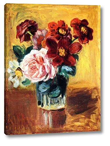 """Flowers in a Vase by Pierre Auguste Renoir - 16"""" x 22"""" Gallery Wrap Giclee Canvas Print - Ready to Hang"""