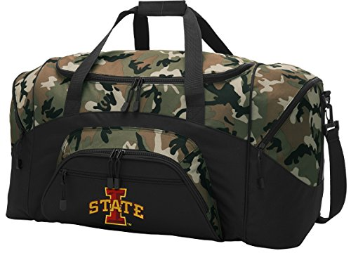 (Broad Bay Large ISU Cyclones Duffel Bag CAMO Iowa State Suitcase Duffle Luggage Gift Idea for Men Man Him! )