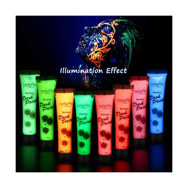 UV-Face-Paint-8pcs-x-28g-UV-Face-and-Body-Paint-Set-Luminous-Body-Painting-UV-Glow-Fluorescent-Colors-Body-Paint-Set-Neon-Liquid-Face-Paint-Perfect-for-Carnival-Party-Halloween