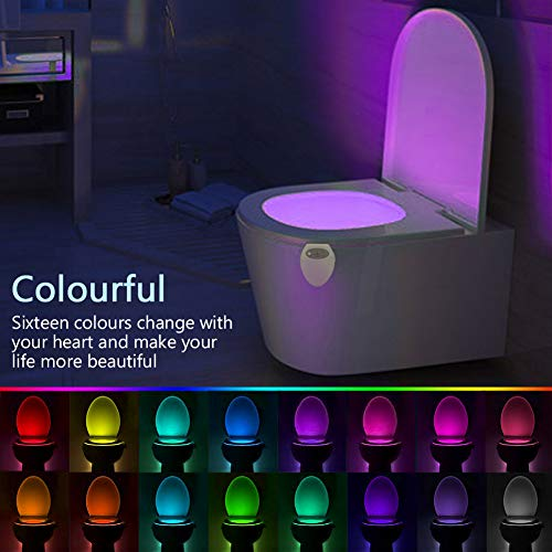 Rechargeable Toilet Bowl Night Light -Waterproof 16 Color Led Motion Sensor Light Automatic Activated Inside Potty Bowl with UV Sterilization