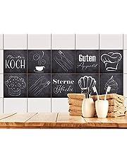 GRAZDesign 770500 tegelstickers antraciet met spreuk 'Guten Appetit voor de keuken, oude keukentegels beplakken, tegelafbeelding zelf vormgeven
