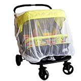 Twin stroller nets Baby Mosquito Mesh Tandem Strollers Double and Prams (Twin stroller, White)