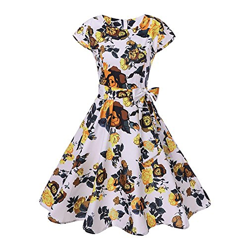 aySeventh Women Vintage Bodycon Short Sleeve Casual Retro Evening Party Prom Swing Dress ()