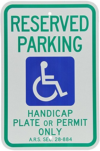 Aluminum Signs Stanley Engineer Grade Reflective Sign, Legend Reserved Parking Handicap Plate or Permit Only with Graphic, 18 High X 12 Wide Inch, Blue/Green on White