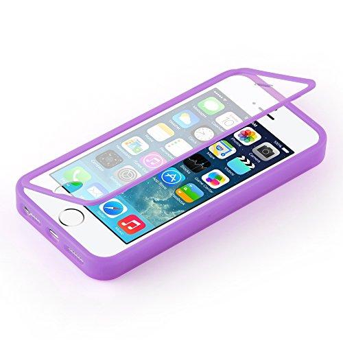 Cadorabo - Cubierta protectora para Apple iPhone 5 / 5S / 5G de silicona TPU Cuerpo Completo Full Body - Case Cover Funda Carcasa Protección en AZUL LILA