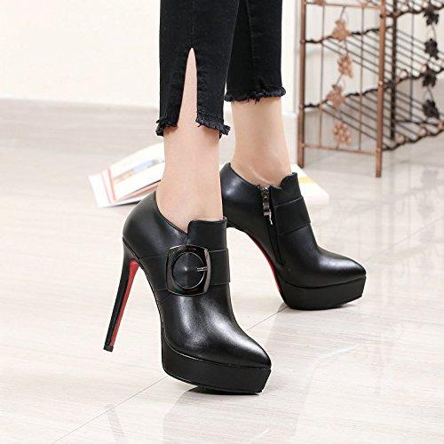 KHSKX-Sagte Ferse Hochhackigen Schuhe Tiefe Schuh Seite Reißverschluss Wasserdicht Tabelle Schwarze Frauen Schuhe Thirty-four