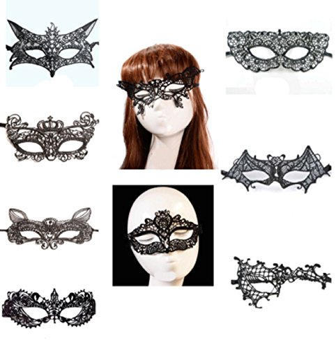 Hot Sale! 9 Style Female Masque Sexy Black Lace Mask Halloween Eye Face Masks Party Mask Masquerade (Style # - Outfits Justice Victoria