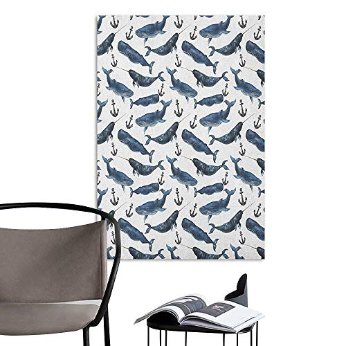 - Wall Mural Wallpaper Stickers Narwhal Aquarelle Whales with Anchors Marine Biology Illustration Brush Stroke Dark Blue Navy Blue Bedroom Wall W20 x H28