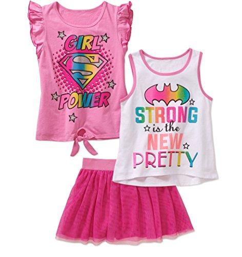 Girls Supergirl Batgirl 3 pc T-Shirt, Tanktop, Tutu Skirt/Scooter -