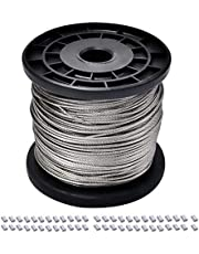 Wire Rope - 304 Stainless Steel Wire Cable, 7x7 Strand Core, 328FT Length Aircraft Cable, 368 lbs Breaking Strength with 50 Pcs Aluminum Crimping Sleeves