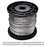 1/16 Wire Rope, 304 Stainless Steel Wire Cable, 7x7 Strand Core, 328FT Length Aircraft Cable, 368 lbs Breaking Strength with 50 Pcs Aluminum Crimping Sleeves