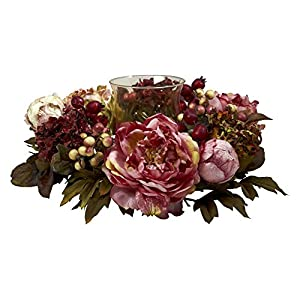 Nearly Natural Peony and Hydrangea Candelabrum Silk Flower 81