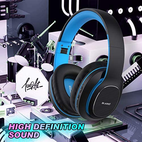Bluetooth Headphones Over Ear, BLARO Hi-Fi Deep Bass Wireless&Wired Headsets, 72 Hours Playtime, Soft Memory Protein Earmuffs, Foldable Headphones with CVC6.0 Mic - Blue