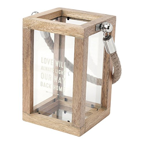 Hallmark Home Wood/Glass Lantern with Rope Handle,
