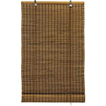 Bamboo Slat Roll Up Window Blind Espresso Brown (24x72 Inch)