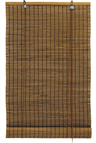 Seta Direct, Bamboo Slat Roll Up Window Blind 24-Inch Wide By 72-Inch Long, Espresso Brown (Tortoise Shell Blinds)