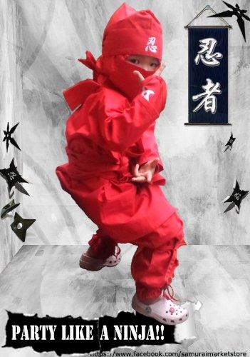 Halloween Children's Ninja Uniform/ Martial Art Costume! Black/Red (Red, Larg...