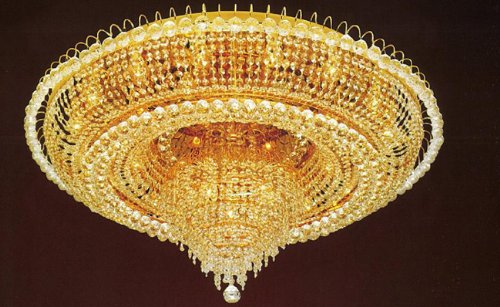 FRENCH EMPIRE CRYSTAL FLUSH CHANDELIER LIGHTING H 19″ W 39″
