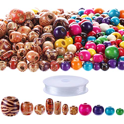 Multi Color Natural Wood - 600 Pieces Natural Color Printed Wood Beads Multi-Color Round Wooden Beads Wooden Spacer Beads with Clear Elastic Cord for DIY Jewelry Making (Color Set 1)
