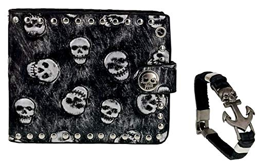 ABC STORY Women Gothic Black Carved Leather Snap Wallet Purse with Skull Bracelet for Men -