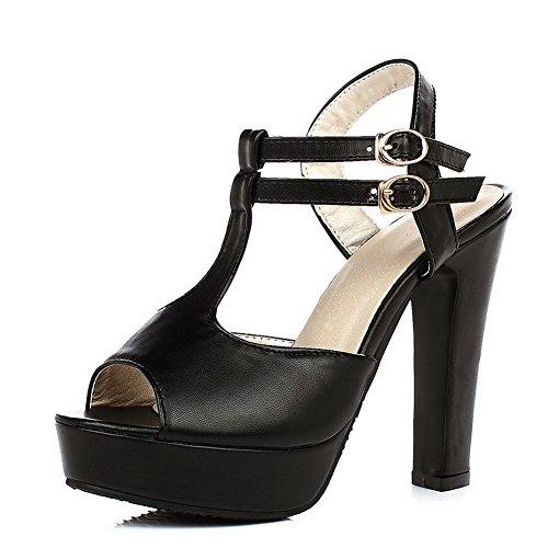 Hohem AllhqFashion Material Sandalen Schnalle Schuhe Fischkopf mit Absatz Weiches Damen Schwarz wAw8rZ