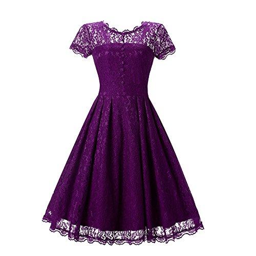 Vestido RONG Violet De Encaje Redondo XIU Y Cuello 18O5Ww