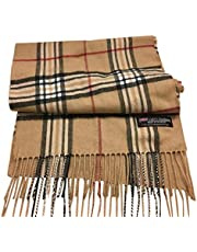"""100% Authentic Real Cashmere Super Plaid Scarf - Unisex (Men/Women) - 12"""" x 72"""" Long Scarf - Perfect for Birthday Gift"""