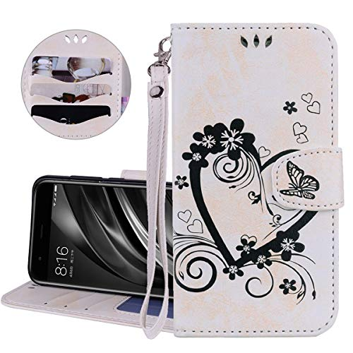 ther, IDBI Love Heart Flower Butterfly Embossed Wallet PU Leather Fashion Design Magnetic Flip Cover Stand Case Card Holders Slots for iPod Touch 5/6th White ()