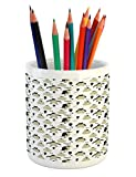 Lunarable Penguin Pencil Pen Holder, Baby Shower Theme Cute Sketch Penguins North Pole Animals with Grunge Effect, Printed Ceramic Pencil Pen Holder for Desk Office Accessory, Beige and Black