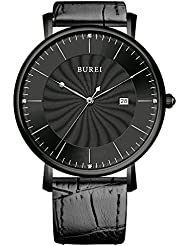 BUREI Unisex Ultra-thin Big Face Quartz Watch with Black Calfskin Band, Black Spiral Grain Dial