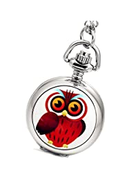 Lancardo Owl Antique Style Pocket Watch Vintage Silver Necklace Pendant with Gift Bag