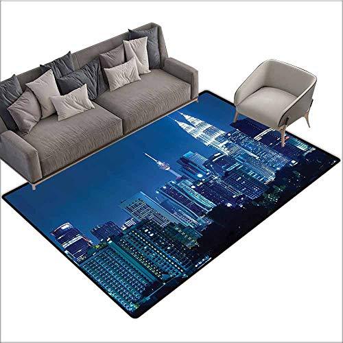 Long Kitchen Mat Bath Carpet Fabric,Kuala Lumpur Skyline at Night KLCC Twin Towers Malaysian Landmark Monochromic Photo,Navy Black 48