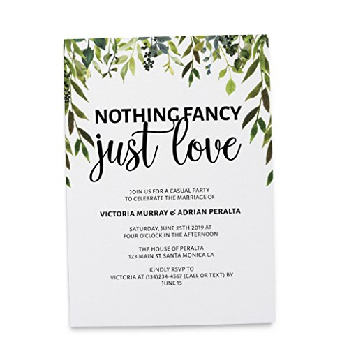 Nothing Fancy Just Love, Elopement Announcement Invitation, Plain and Simple, Post Wedding Party Celebration, Marriage Announcement, Customizable, Personalized, Set of 20]()