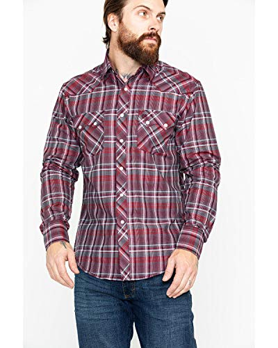 (Wrangler Men's Retro Lurex Long Sleeve Western Shirt Red Large)