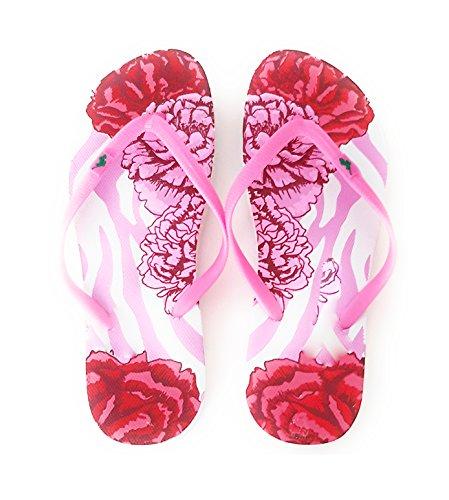 Colores Mujer Modelos Piscina Chanclas y Playa Verano Rosa Correa de Pintadas Varios Suela Flores 48Ywx5Tq65