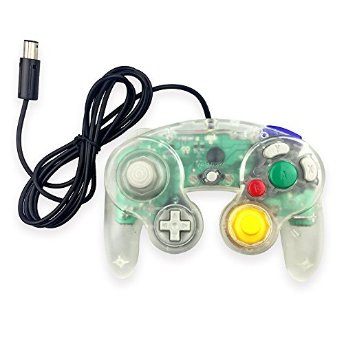 Koalud 1 Pack Classic Wired Gamepad Controllers for Wii Game Cube Gamecube console(Clear white)