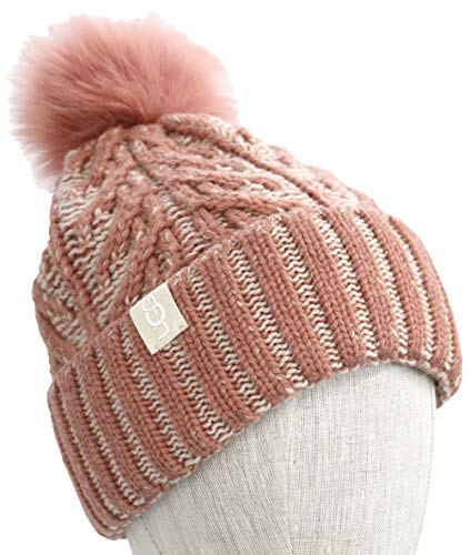 UGG Women's Cable Knit Pom Beanie Lantana Pink Multi Plaited One Size