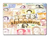 Luxlady Natural Rubber Placemat IMAGE ID: 25854045 closeup history wording stack on banknotes world currency business and education concept and idea