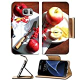 MSD Premium Samsung Galaxy S7 Flip Pu Leather Wallet Case Composition with apples and candle on napkin wooden background Image ID 23886859