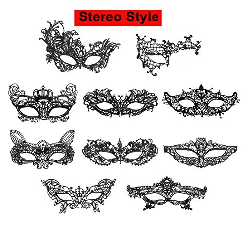 iMucci Sexy Lace Masquerade Party Masks - Venetian Style Halloween Party Ball Prom Eye Mask (Stereo Style,Pack of 10pcs) ()