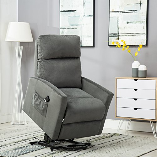 BONZY Lift Chair Power Reclining and Lifting Motion Recliner - Blue Gray