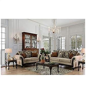 Amazon.com: Traditional Living Room Sofa Loveseat Intricate ...