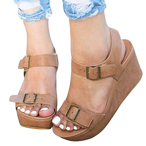 Platform Sandals Wedges Buckle Toe Peep Huiyuzhi Open Wedge Bushnell Straps Brown Womens Ankle nAqxwU1F
