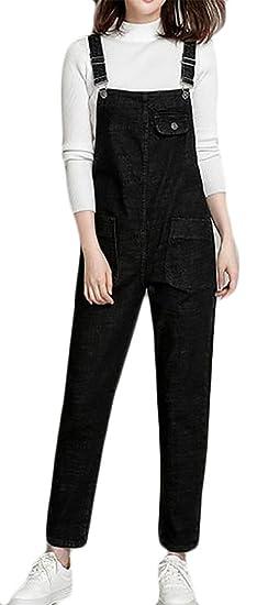 cabbf5880092 Amazon.com  Hajotrawa Women s Casual Loose Wide Leg Bib Harem Denim Jumpsuit  Overalls  Clothing