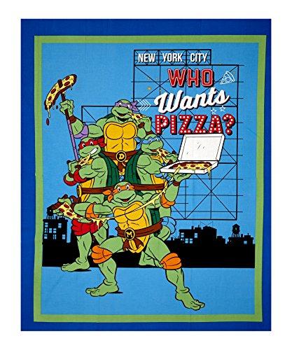 Springs Creative Products Nickelodeon Teenage Mutant Ninja Turtles Retro TMNT Who Wants Pizza? 36in Panel White Fabric, -